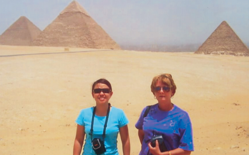 Helene, on the right, at the Pyramids.