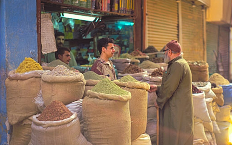 Spice merchants at a market in Cairo.